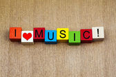 I Love Music, sign series for song, bands, musicians, fans. — Stock Photo