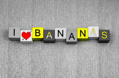 Bananas, sign series for food, fruit, healthy nutrition — Stock Photo