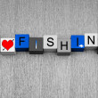Stock Photo: I Love Fishing, sign for angling, anglers and catching big fish.