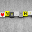 I Love Melons, sign series for fruit, cooking, growing — 图库照片