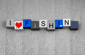 I Love Fishing, sign for angling, anglers and catching big fish. — Stock Photo