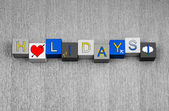 Love Holidays, sign series for vacation, holiday and traveling a — Stock Photo