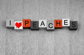I Love Peaches, sign series for food, fruit, healthy nutrition. — Stock Photo