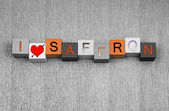 I Love Saffron, sign series for spices, recipes, healthy eating. — Stock Photo