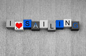 Eu adoro velejar, Cadastre-se para Veleiros, iates e barcos — Fotografia Stock