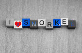 I Love To Snorkel, sign series for snorkelling and spearfishing — Stock Photo