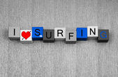 Surfing, sign series for surfers, watersports and loving to surf — Stock Photo