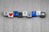 I Love Travel, sign series for business travel and flying abroad — Stok fotoğraf