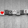 I Love Cookies. Sign for biscuits and cookie lovers everywhere! — Stock Photo #39554981