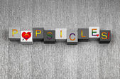 Love for Popsicles. Sign for popsicle and candy lovers — Stock Photo