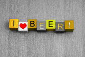 I Love Beer, sign series for alcohol, beer and ale. — Stock Photo