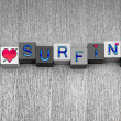 I Love Surfing, sign series for surfers and the surf. — Stock Photo #39796317
