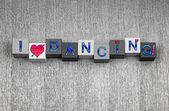 Jag älskar dans, sign serien för dans, fest och party. — Stockfoto