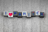 I Love Parties, sign series for drinks, celebration and party. — Stock Photo