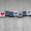 I Love Summer, sign for holidays, vacation and hot weather. — Stock Photo