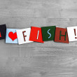 Stock Photo: I Love Fish, sign series for meats, food and cooking.