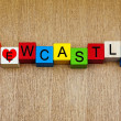 Stock Photo: Love for Newcastle, sign series for cities, holidays and travel.