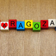 Stock Photo: Zaragoza, Spain, sign series for holiday destinations and travel