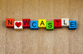 Love for Newcastle, sign series for cities, holidays and travel. — Stock Photo