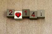 любовь к 2014 г., знак серии для календарных лет и даты. — Стоковое фото