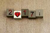 Amour pour 2017, série de signe pour l'année civile et dates. — Photo