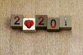 Love for 2020, sign series for calendar years and dates. — Stock Photo