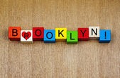 Love for Brooklyn, New York, sign series, places in America. — Stock Photo