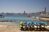 Playa de Levante, Benidorm, Spain: canoes, water sports adventure and blue sea. — Stock Photo