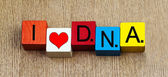 I Love DNA , sign for science, genetics, research and biology. — Stock Photo