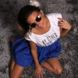 Beautiful Girl Model With Sunglasses on Silver Carpet — Stock Photo