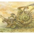 Steampunk. racing snails — Stock Photo