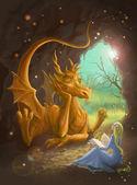 Dragon ve bir kitap okuma Prenses — Stok fotoğraf