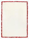 Deckled Paper with tattered red border. — Stock Photo