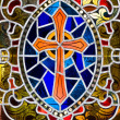Stained Glass Cross - Stock Photo