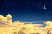 Cloudscape and Moon — Stock Photo