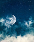 Midnight Fog and Moon — Stock Photo