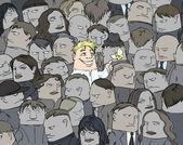 Ein einziges lächeln in einer menschenmenge — Stockvektor
