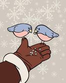 Feeding the birds — Stock Vector