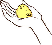 Small bird in a hand — Vector de stock