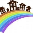 Rainbow town — Stock Vector #16492359