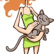 Girl with a cat — Stock Vector #16492399