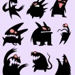 Set of funny monsters in black silhouette — Stock Vector