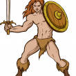 Barbarian with sword and shield - Stok Vektör