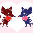 Royalty-Free Stock Vector Image: Fox valentine card