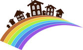 Rainbow town — Stock Vector