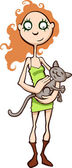 Girl with a cat — Stock Vector