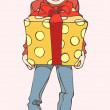 Vector christmas illustration of a boy checking boxes with presents — Stock Vector #17872403
