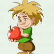 Cute little elf with an apple in his hands — Vector de stock