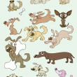Vector illustrations of funny cartoon dogs — Imagens vectoriais em stock