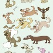 Stock Vector: Vector illustrations of funny cartoon dogs